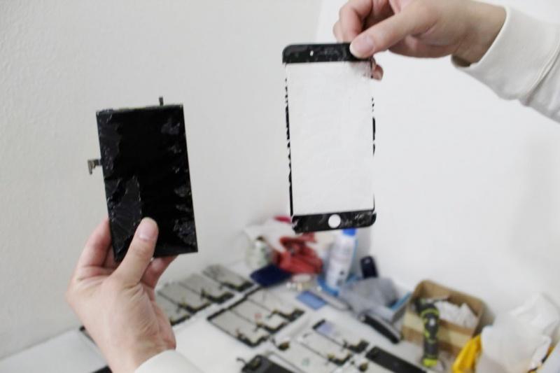 tách mặt kính iphone