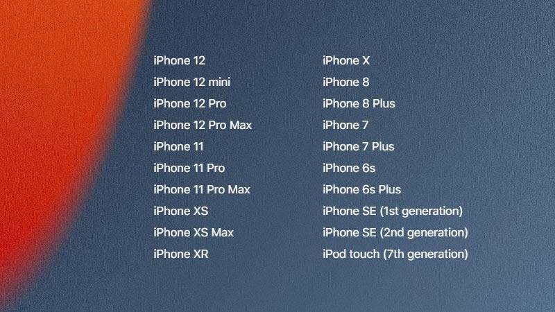 iOS 15 tương thích với các thiết bị sau